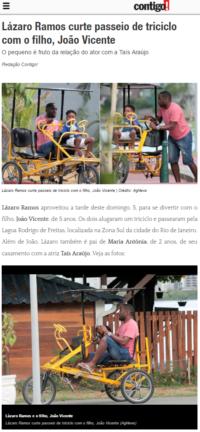 Lázaro Ramos pedalando no Triciclo Família da Dream Bike